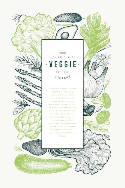 Szablon Zielone Warzywa. Ręcznie Rysowane Ilustracja Jedzenie. Grawerowana Rama Warzywna. Retro Botaniczny. Premium Wektorów