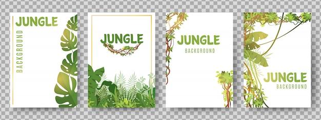 Szablon Zielony Tropikalne Ramki. Karty Wektorowe Rośliny Dżungli Premium Wektorów