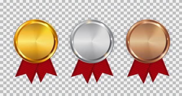 Szablon Złoty, Srebrny I Brązowy Medal Mistrza Z Czerwoną Wstążką. Premium Wektorów