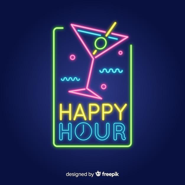 Szablon znak happy hour neon Darmowych Wektorów