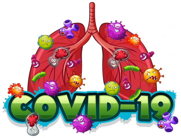 Szablon Znaku Covid19 Z Ludzkimi Płucami Pełnymi Wirusów Darmowych Wektorów