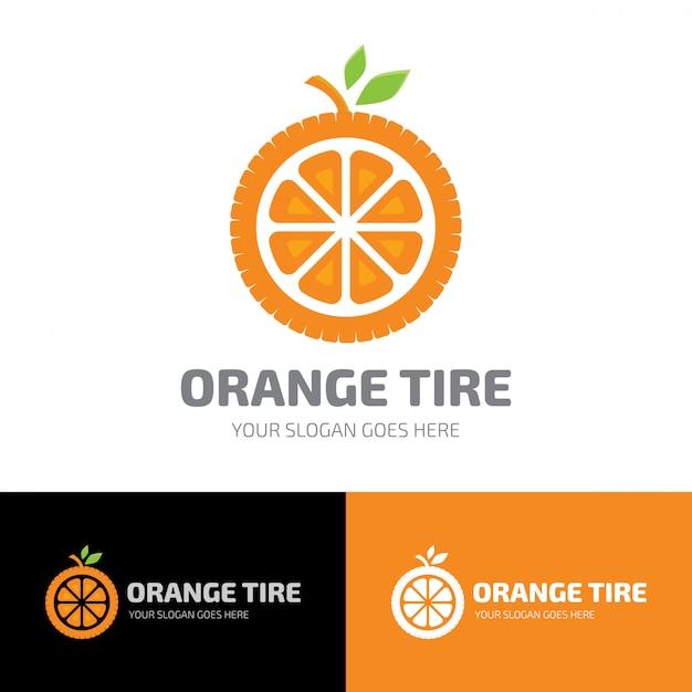 Szablonowe logo opony owoców pomarańczowych Premium Wektorów