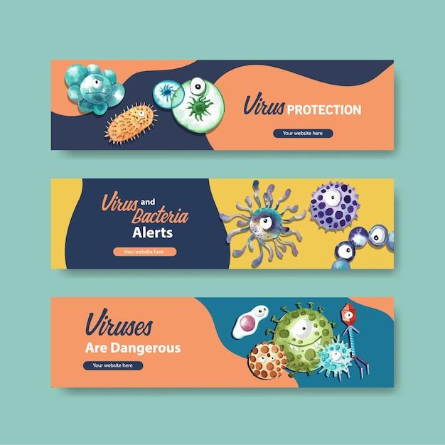 Szablony Banner Ochrony Przed Wirusami W Stylu Przypominającym Akwarele Darmowych Wektorów