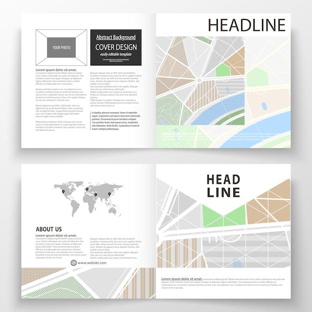 Szablony biznesowe dla kwadratowej bi fold broszury, czasopisma, ulotki, raport. Premium Wektorów