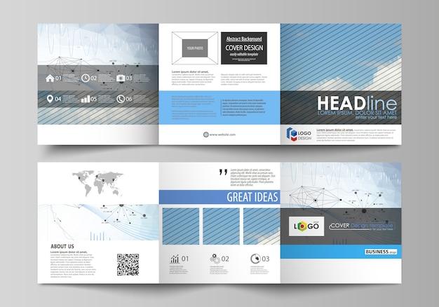 Szablony biznesowe do broszur składanych kwadratowych projektu. Premium Wektorów