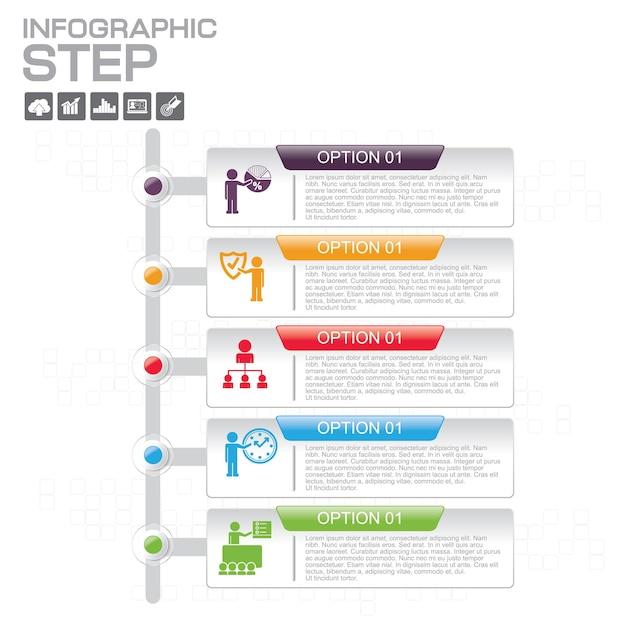 Szablony Infografiki Z 5 Opcjami Dla Firm Premium Wektorów