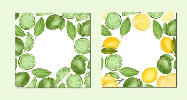 Szablony Kart Ręcznie Rysowane Limonki I Cytryny, Ilustracja, Okrągłe Ramki Premium Wektorów