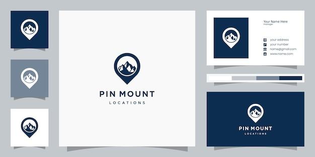 Szablony Logo Lokalizacji Górskiej I Projektowanie Wizytówek Premium Wektorów