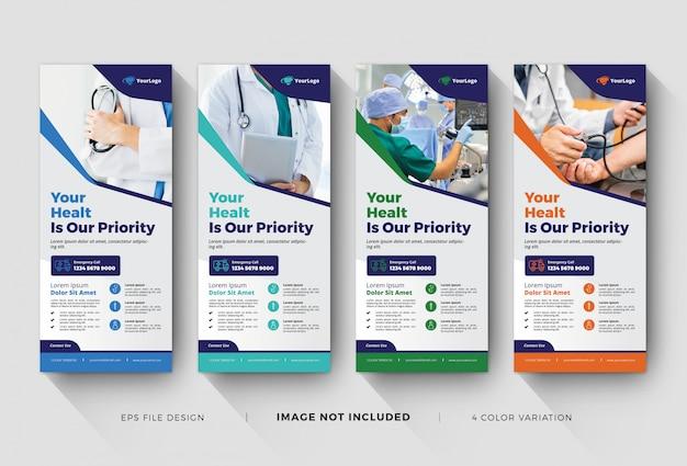Szablony Medyczne Roll Up Banner Premium Wektorów