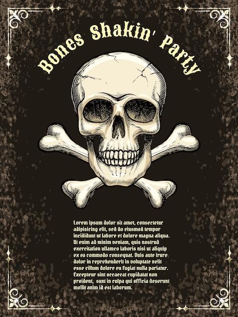 Szablony Plakatów Na Imprezę, Halloween. Czaszka I Piszczele. Ilustracji Wektorowych Darmowych Wektorów