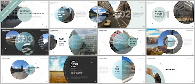 Szablony portfolio prezentacji z elementami koła na białym tle Premium Wektorów