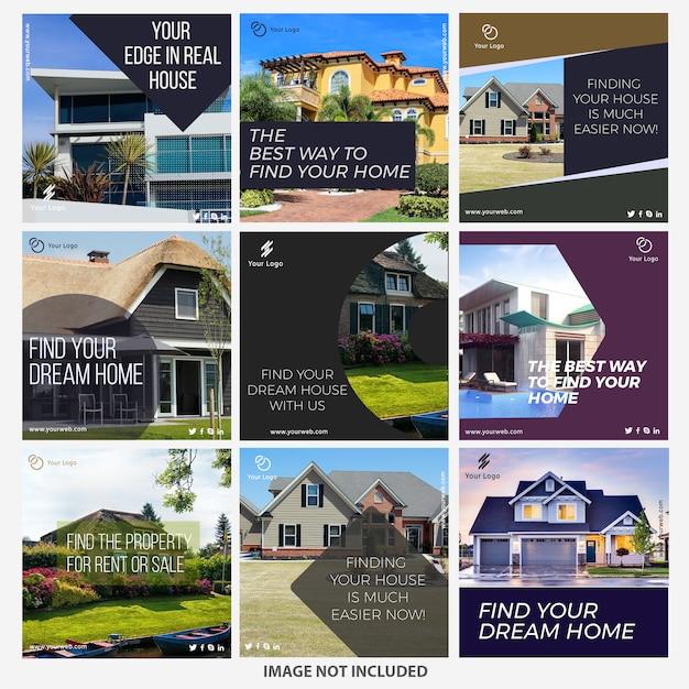 Szablony postów z instagramów nieruchomości Premium Wektorów