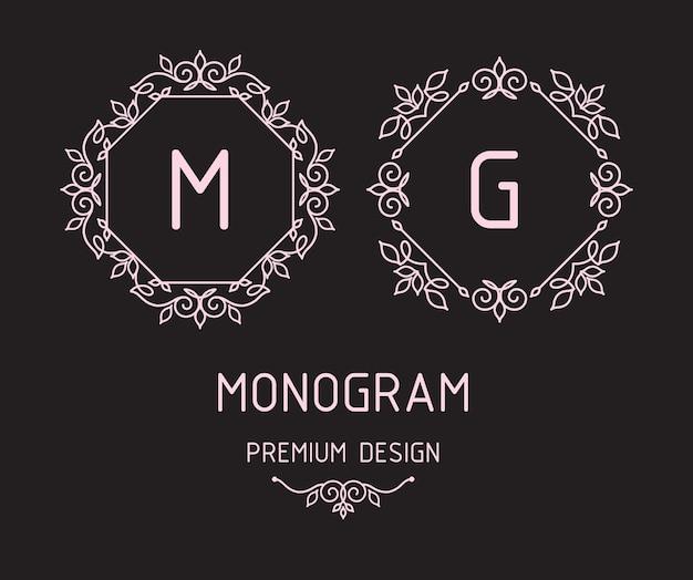 Szablony Projektów Monogramów Premium Wektorów