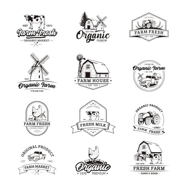 Szablony retro logo rolnika Premium Wektorów