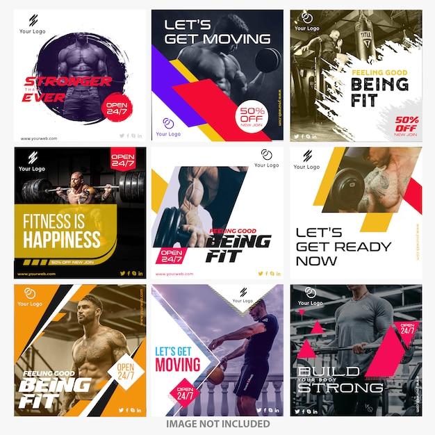 Szablony Szablonów Gym Instagram Premium Wektorów