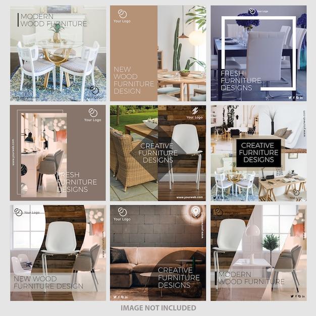 Szablony szablonów instagramów mebli Premium Wektorów