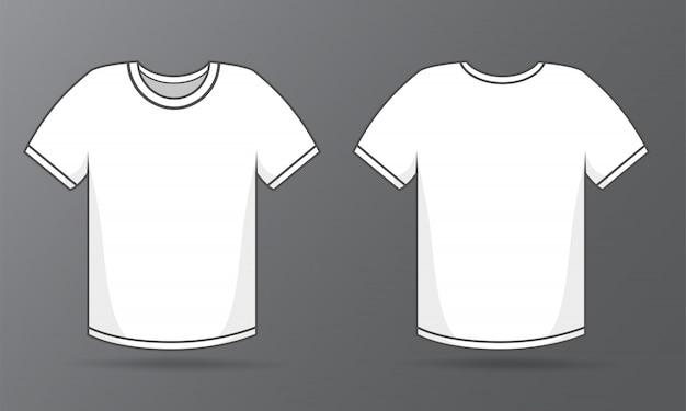 Szablony z przodu iz tyłu prosta biała koszulka Premium Wektorów