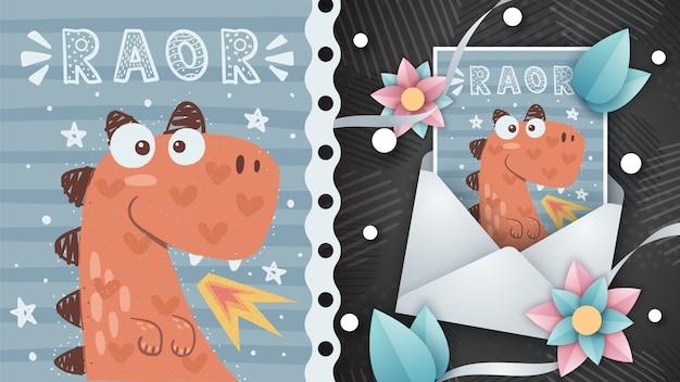 Szalona Dino Ilustracja Dla Kartka Z Pozdrowieniami Premium Wektorów