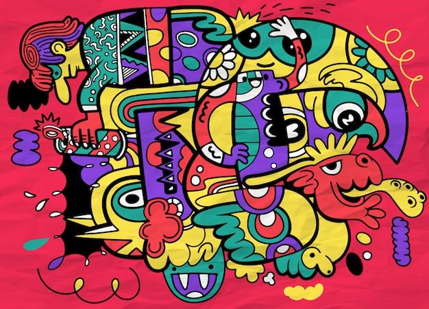 Szalony Streszczenie Doodle Społeczne, Doodle Styl Rysowania. Premium Wektorów