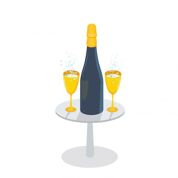 Szampańska butelka i złoci szkła z iskrzastym winem na stole, odosobnionym na białym tle Premium Wektorów