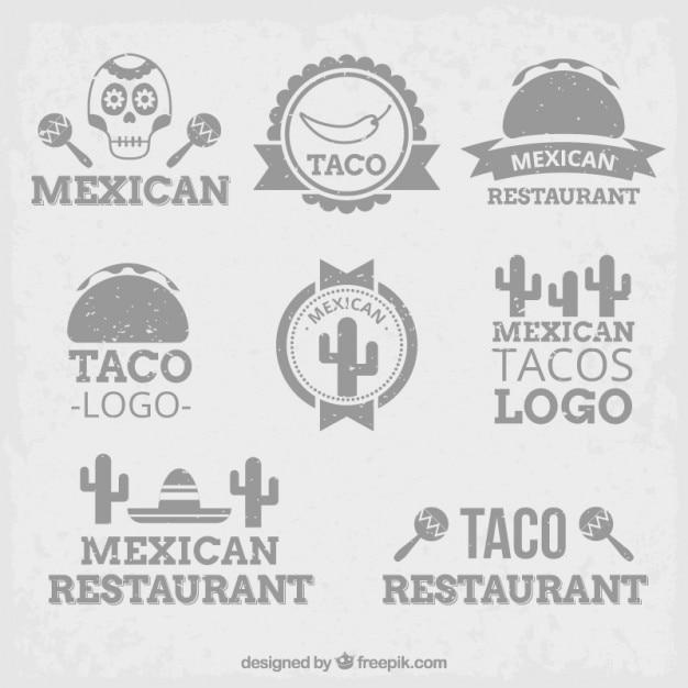 Szary meksykański loga w płaskiej konstrukcji Darmowych Wektorów