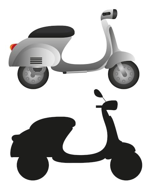 Szary Motocykl I Sylwetka Motocykl Na Białym Tle Premium Wektorów
