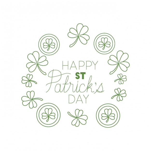 Szczęśliwa st patrick `s dnia etykietka z koniczynowymi i elfowymi kapeluszowymi ikonami Premium Wektorów