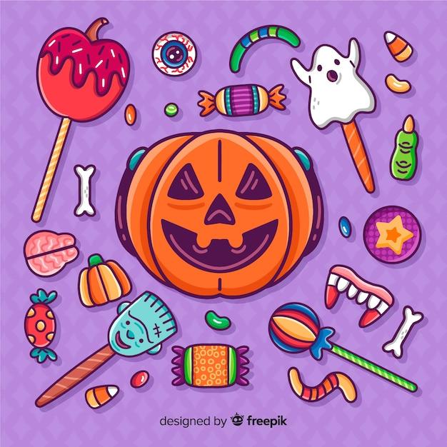 Szczegół kolekcja ręcznie rysowane naklejki halloween cukierki Darmowych Wektorów