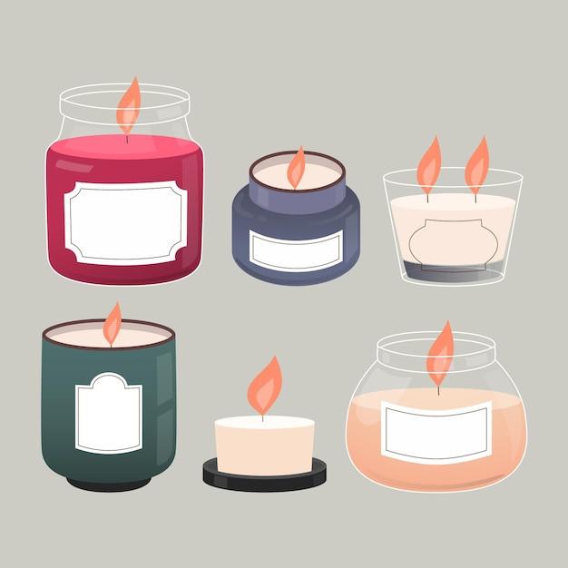Szczegółowa Kolekcja świec Zapachowych Darmowych Wektorów