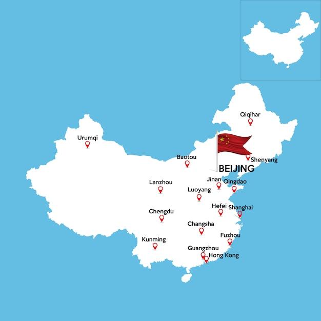 Szczegółowa Mapa Chin Premium Wektorów