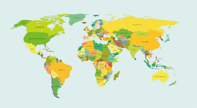 Szczegółowa Mapa świata Z Krajami. Premium Wektorów