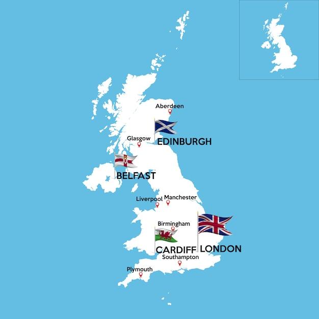 Szczegółowa Mapa Wielkiej Brytanii Premium Wektorów
