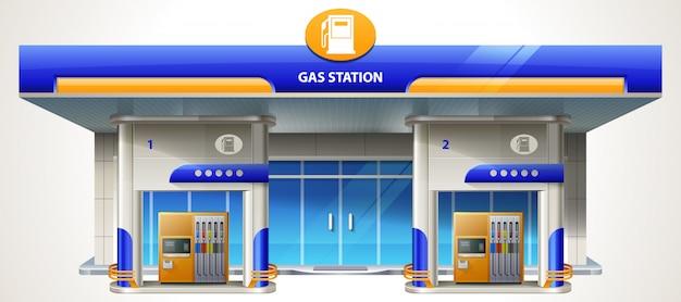 Szczegółowa, Nowoczesna, Płaska Stacja Benzynowa. Budynek Usług Związanych Z Transportem Stacja Benzynowa I Olejowa Ze Sklepem Premium Wektorów
