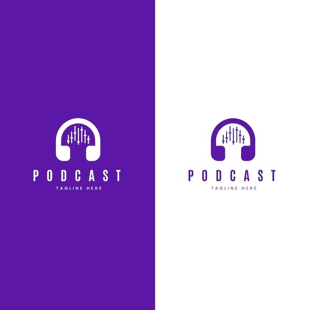 Szczegółowe Logo Podcastu Na Białym I Fioletowym Tle Darmowych Wektorów