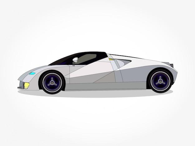 Szczegółowe nadwozie i felgi białego samochodu Premium Wektorów