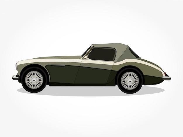 Szczegółowe nadwozie i felgi klasycznej samochodowej kreskówki ilustraci Premium Wektorów