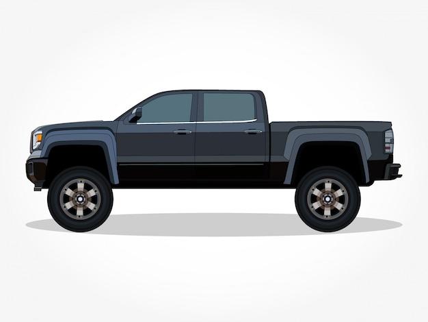 Szczegółowe nadwozie i felgi płaskiej kolorowej kreskówki klasycznego samochodu z czarnym efektem obrysu i cienia Premium Wektorów