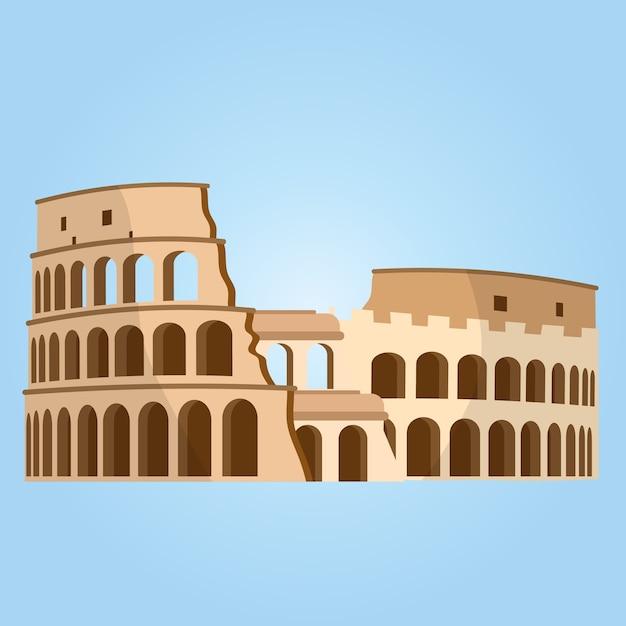 Szczegółowe Najbardziej Znane Miejsce Na świecie. Koloseum W Rzymie, Włochy. Wektor Koloseum. Premium Wektorów