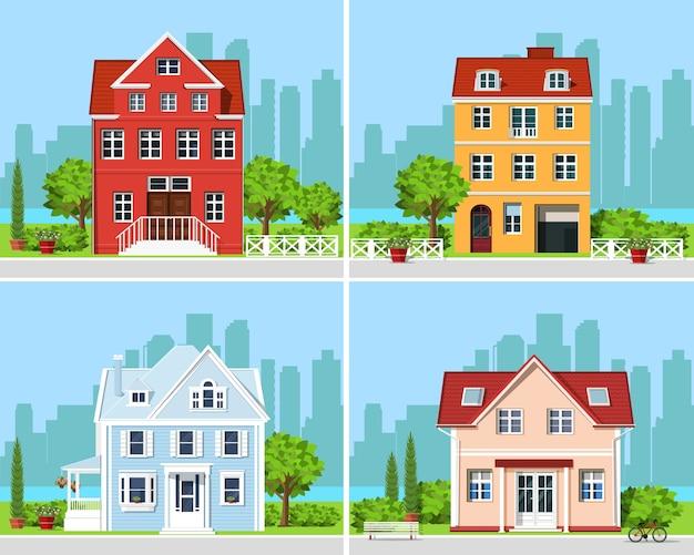 Szczegółowy Kolorowy Zestaw Nowoczesnych Domów Z Drzewami I Tłem Miasta. Premium Wektorów
