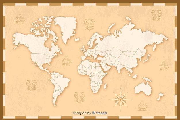 Szczegółowy projekt mapy świata w stylu vintage Darmowych Wektorów