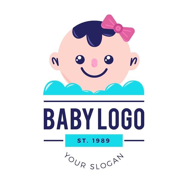Szczegółowy Szablon Logo Dziecka Premium Wektorów