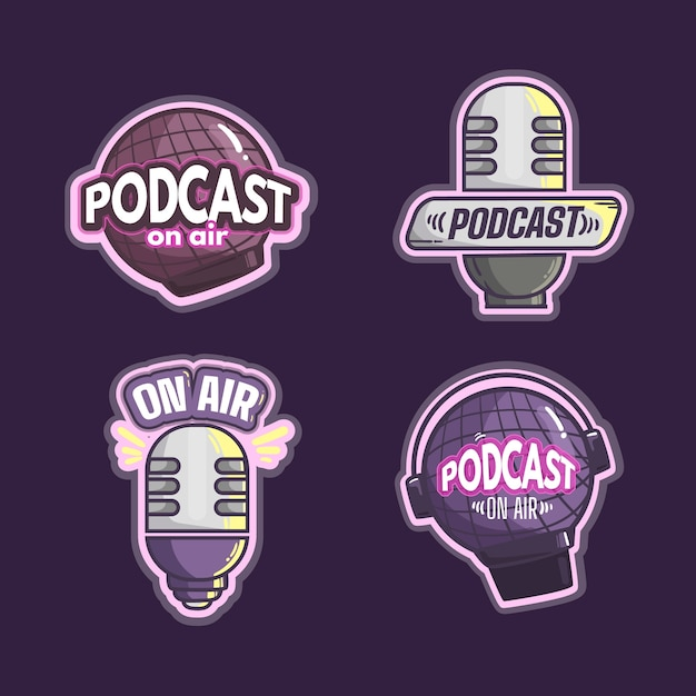 Szczegółowy Szablon Logo Podcastu Darmowych Wektorów