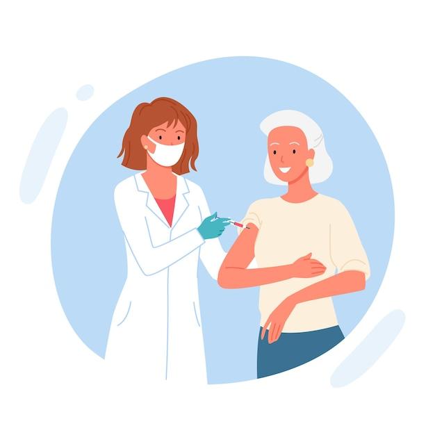 Szczepionka W Podeszłym Wieku. Premium Wektorów