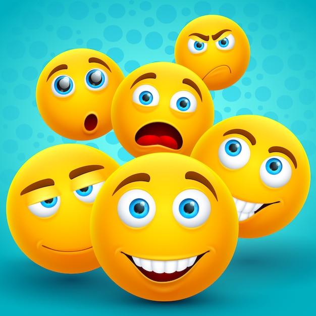 Szczęście i przyjaźń kreatywne żółte ikony emoji Premium Wektorów