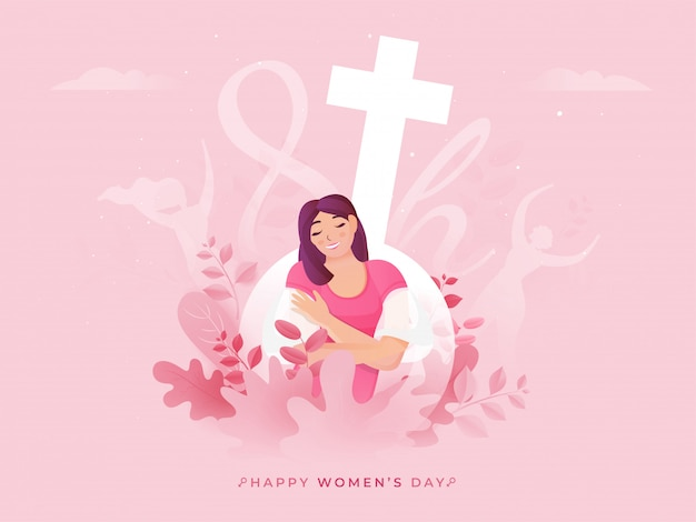 Szczęście, Młoda Dama Siedzi Na Różowym Tle Przyrody Z Hydroseksualnym Znakiem Na 8 Marca, Szczęśliwy Dzień Kobiet. Premium Wektorów