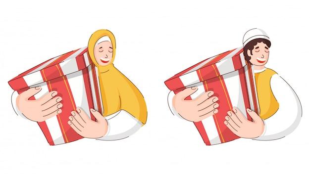 Szczęście Muzułmański Mężczyzna I Kobieta Trzyma Prezenta Pudełka Na Białym Tle. Premium Wektorów