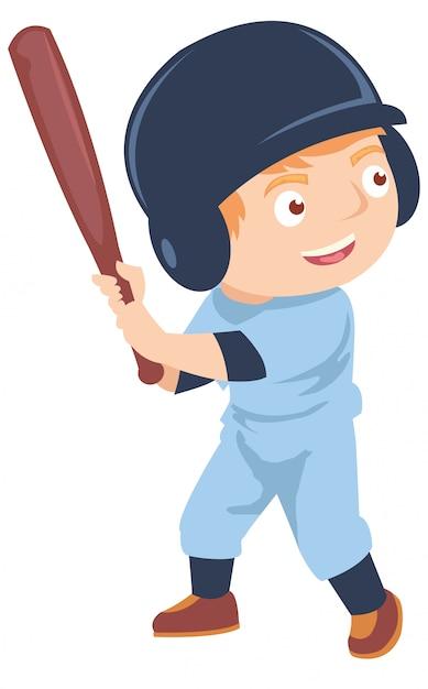 Szczęśliwa Chłopiec Bawić Się Baseballa Premium Wektorów