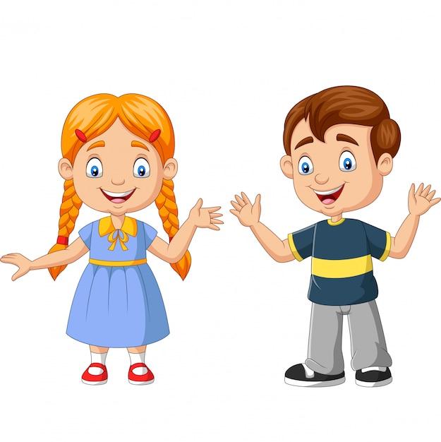 Szczęśliwa Chłopiec I Dziewczyny Kreskówka Premium Wektorów