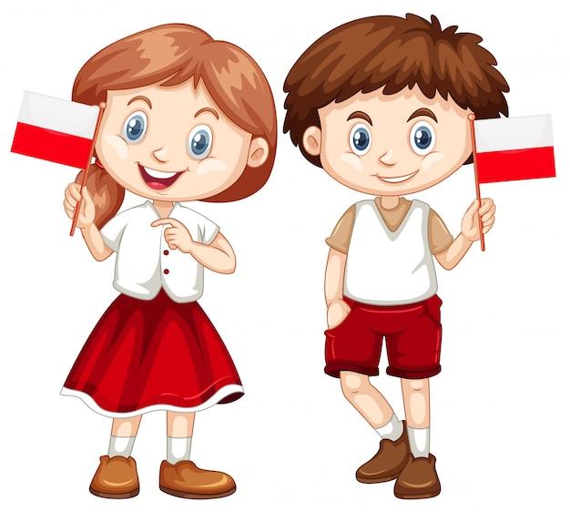 Szczęśliwa Chłopiec I Dziewczyny Mienia Flaga Polska Darmowych Wektorów