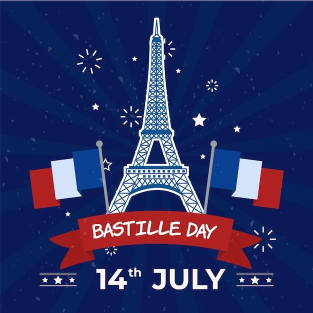 Szczęśliwa Dzień Bastylii Wieża Eiffla I Flagi Darmowych Wektorów